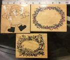 3 Rubber Stamps 2 Christmas Wreaths1 Santa