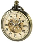 Mechanical Skeleton Big Case Pocket Watch Open Face Fob Automatic Double-Dial