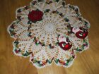 New Hand CrochetChristmas Poinsettia Doily Centerpiece Tablecloth Round13 1 2