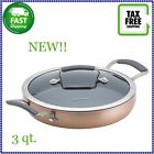 Epicurious Aluminum Nonstick 3 Qt Sauteuse In Copper With Stainless Steel Base