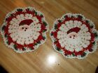 New Hand CrochetChristmas 2 PieceSanta Mini Doily Set