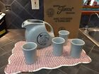 Fiesta RETIRED pearl gray  Dancing Lady disc pitcher with 4 tumblers  NEW IN BOX