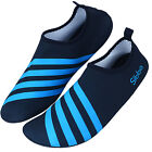 Men Women Athletic Pool Beach Shoes Diving Boots Wet Water Sports Blue Stripes
