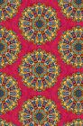 Pirouette Moroccan Medallion Kaleidoscope Fabric Large Print Red Blue Yellow