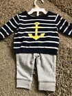 NWT baby boy Carters 2 piece Anchor Sweater Set Newborn