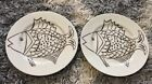 Vintage 1976 Fitz & Floyd Lot Of 2 Plates Les Fish Pattern Brown & Ivory 1970's