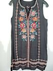 Johnny Was Nadia Peasant black Embroidered tank dress S M