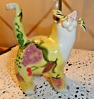 Whimsiclay Cat Figurine (No markings) Fruit painted all over