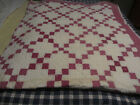 OLD EARLY ANTIQUE PRIMITIVE HAND STITCHED PATCHWORK QUILT.....DMG