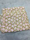 Vintage Sheer Brown Tan Pink White Floral Daisy Scrap Fabric