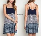 Umgee Slip Dress Country Print Summer Boho Adjustable Straps Navy Mix S M