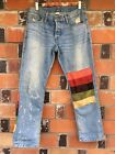 Velvet Fabric Retro 70s Striped Patched Embellished NSF Button fly Jeans 27