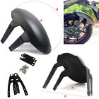 Racing Motorcycle Rear Wheel Fender Cover Splash Guard Mudflap Black w/ Brackets