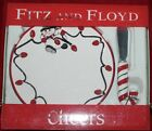 2006 FITZ & FLOYD CHEERS SNACK PLATE SPREADER HOLIDAY CANDY CANE CHEESE SNOWMAN