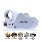 DREAME 30X 60X LED Lighted Illuminated Jewelers Eye Loupe Jewelry Magnifier for