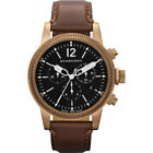 Swiss Burberry Chronograph Brown Leather Band Black Date Dial Watch BU7814