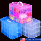 Clear Plastic 3 Layers Jewelry Bead Storage Box Container Organizer Case Craft