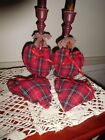 PRIMIITIVE VALENTINE'S DAY RED PLAID BOWL FILLERS  SET OF 4 (6 IN )