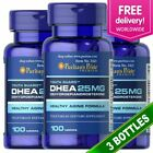 3 X Puritan's Pride DHEA 25 mg 100 Tablets Building Muscle Burning Fat USA MADE