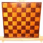 English Chess / Checkers Game Board Hand Made Wood Inlay Great Patina 12
