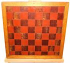 Old English Chess / Checkers Game Board Hand Made Wood Inlay Oak