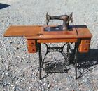 Antique Sewing Machine with Cabinet Treadle Cast Iron Base