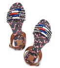 Tory Burch Womens Braided Leather Flat Sandal Red White  Blue Size 8