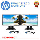 DUAL HP 19 LCD Monitors Matching Model Pair with cables Bright and Sharp