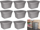8 Plastic Tote Box 18 Gallon Stackable Storage Bin Container with Lid Set