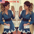 US New Women Ladies V Neck Long Sleeve Lace Printed Casual Blouse Mini Dress Top