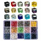 Chengmu 4mm Cube Glass Beads for Jewelry Making Faceted Shape 1050pcs Multicolor