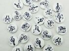 10 MUSIC NOTES 2 hole White Wood Buttons 5 8 15mm Scrapbook Craft 1603