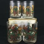 4 VTG Culver Spruce Christmas 22k Gold Double Old Fashion Glasses Yule Horn