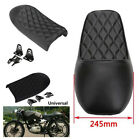 1xBlack Racer Diamond Flat Hump Seat Vintage Locomotive Refit Motorcycle Leather