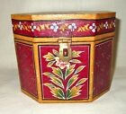 Vintage Hand Painted Octagonal Wooden Box with Lid - Red with Floral Designs