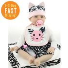 Reborn Baby Doll Girl Look Real White Outfit with Cat Pattern 22 Inches