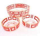 Vintage Jeannette Glass Chip and Dip Bowls Red / Gold  Mid Century Modern