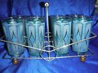 Mid Century Barware  Teal and Gold Set of 8 Cocktail Glasses w/Caddy wooden feet
