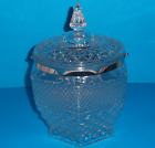 Anchor Hocking Diamond Cut Glass Cookie Jar Canister with Pointed Lid 10 1/4