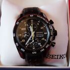 Seiko Sportura Chronograph Sports watch Men's Black Leather band 2 watch bands!!