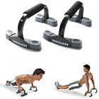 PUSH UPS STAND PAIR CONTOURED BARS FOAM HANDLES ANTI SLIP FEET WORKOUT FITNESS