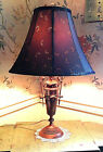Working 23 1/2 inch tall vintage brass Art Nouveau Urn table lamp with shade
