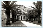 Postcard TX McAllen Walk and Palms High School Grounds RPPC Real Photo J2