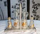 Mid-Century Anchor Hocking Starlyte Gold Leaf Cruet Set Use w/Libbey Gold Leaf