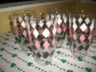 Set of 4 Extra Large 32 Ounce Libbey Glasses Pink White and Black atomic Diamond