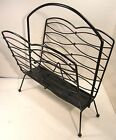 VINTAGE MID CENTURY MODERN MCM METAL WIRE MAGAZINE/LP RACK BALL FEET