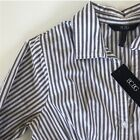 New BCBG Striped Collar Shirt Womens Size Large Brown White Office Work Wear NWT