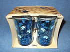 SET OF 4 VINTAGE LIBBEY 12 OUNCE BLUE BEVERAGE GLASSES TUMBLERS W/ BLUE FLOWERS