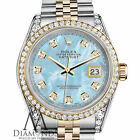 Rolex 36mm Datejust 2 Tone Baby Blue Mother Of Pearl Dial with Diamond