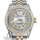 Unisex Rolex 36mm Datejust 2 Tone White MOP Mother Of Pearl String Diamond